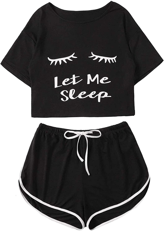 Milumia Women Let Me Sleep Short Sleeves Round Neck PJ Pajamas Sets