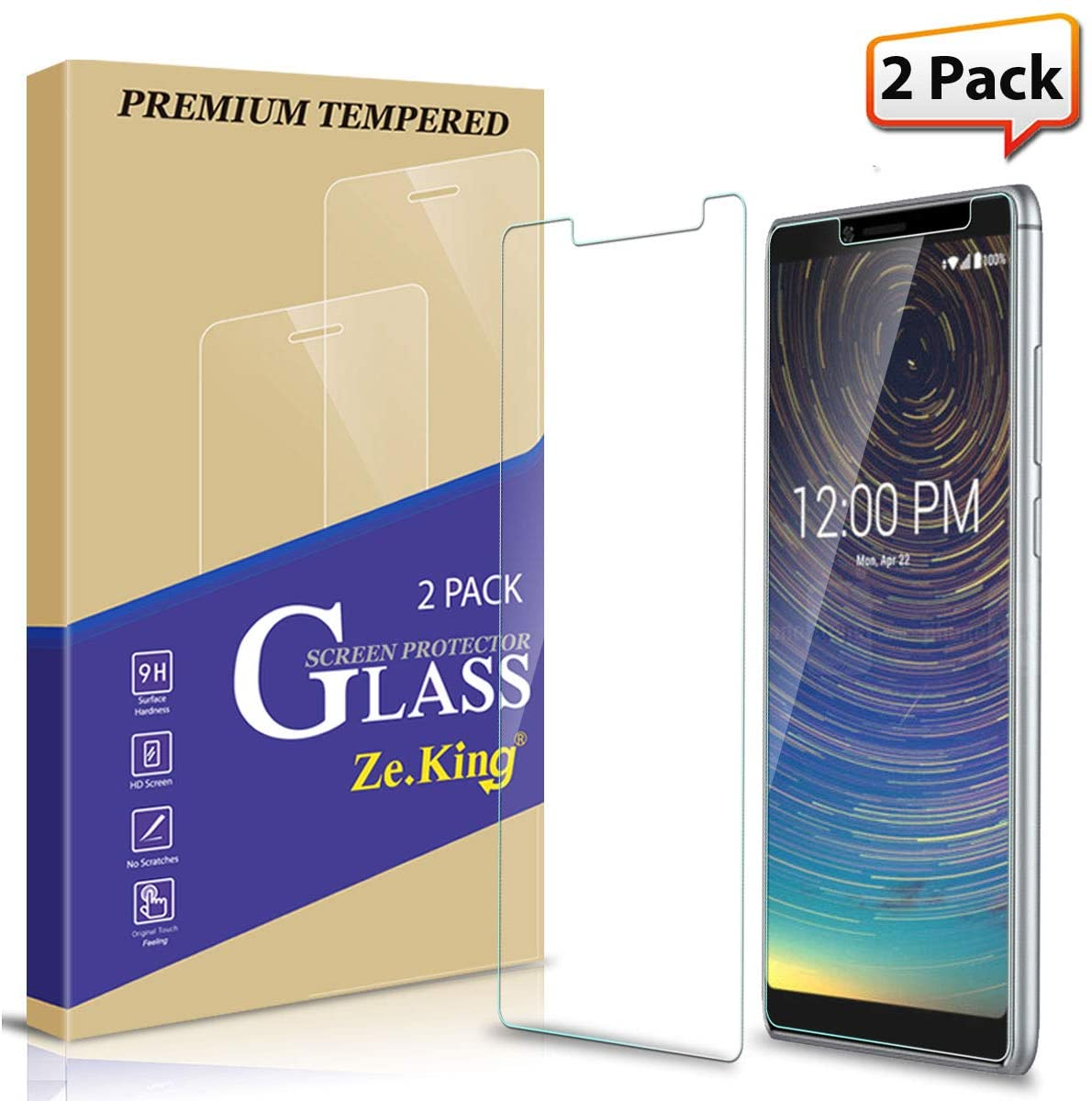 Zeking [2-Pack] Coolpad Legacy 3705A Tempered Glass Screen Protector [3D Touch][Case Friendly] Bubble Free