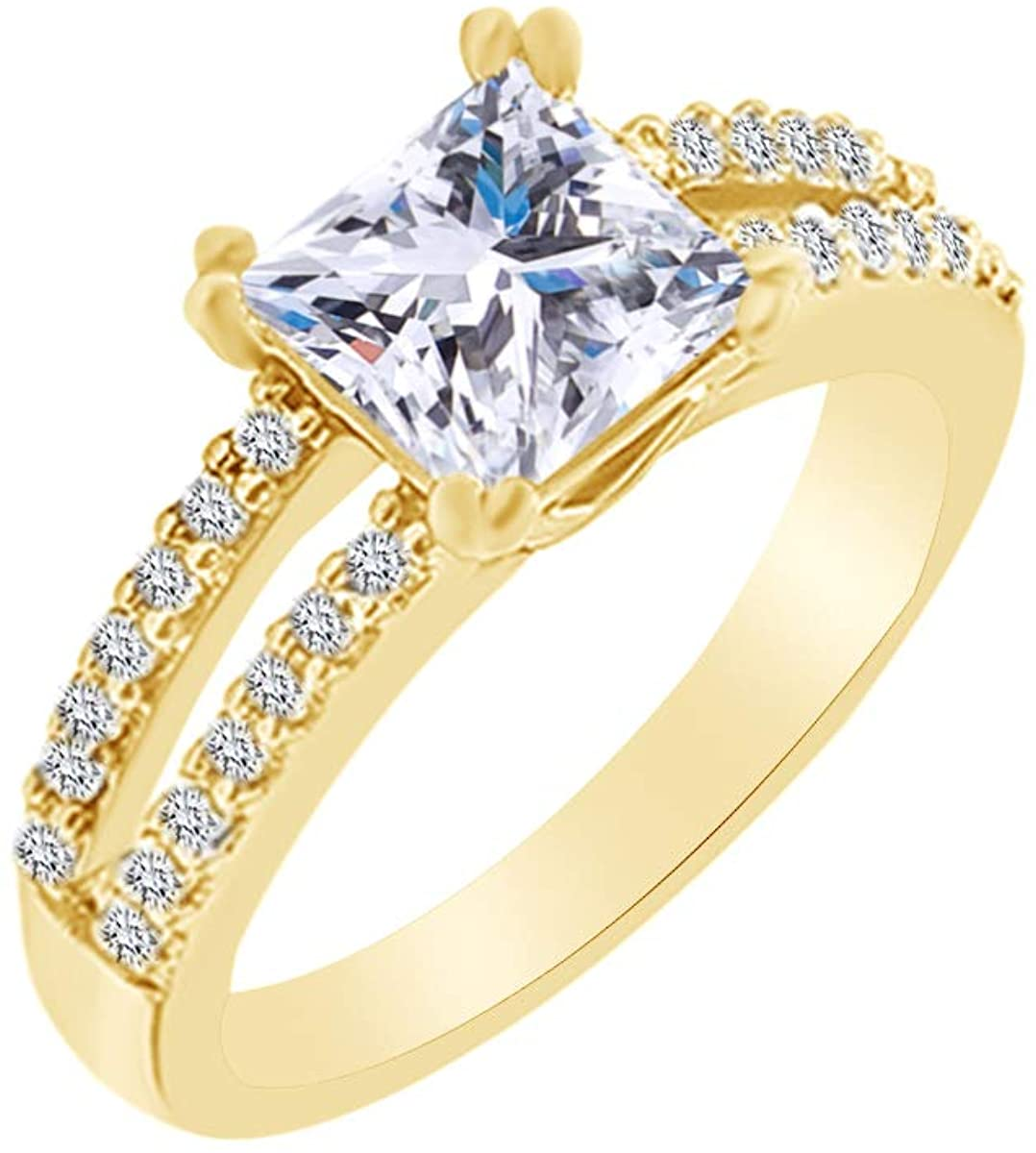 Christmas Holiday Sale Princess & Round Cut Natural Diamond Engagement & Wedding Ring In 14K Solid Gold (0.50 Cttw)