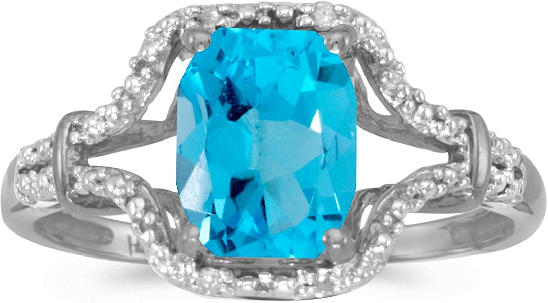 BillyTheTree Jewelry 14k White Gold Emerald-Cut Blue Topaz and Diamond Ring