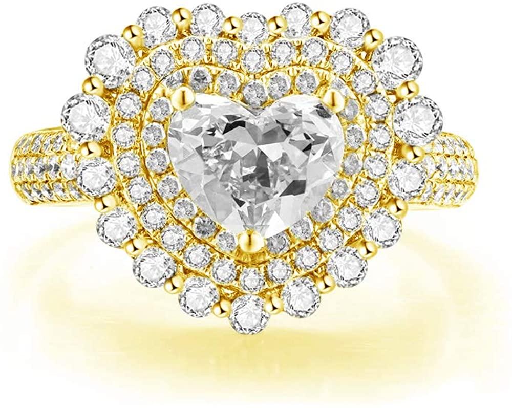 BEBEWO 2-1/5 Carat(Ctw) Heart Shaped Moissanite Ring 14K Gold Engagement Rings for Women Personalized Custom Name Ring, 10K 18K White Gold Ring Wedding Rings for Women(Size 4-12)