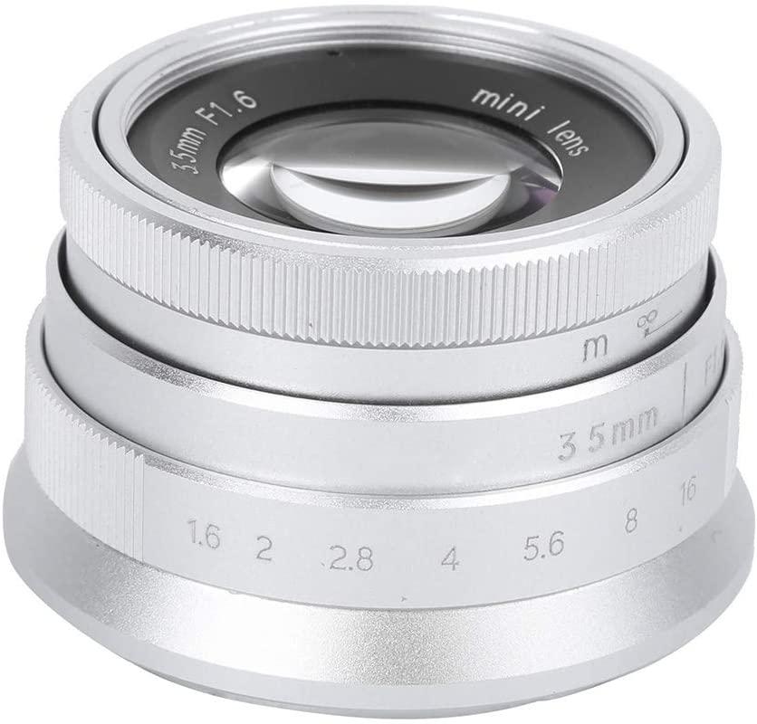 V BESTLIFE Camera Lens, Alloy Optical Glass 35mm F1.6 Vintage Appearance Lens Large Aperture Manual Fixed-Focus Humanistic Scenery Camera Lens (for M4/3 Mount Sliver)