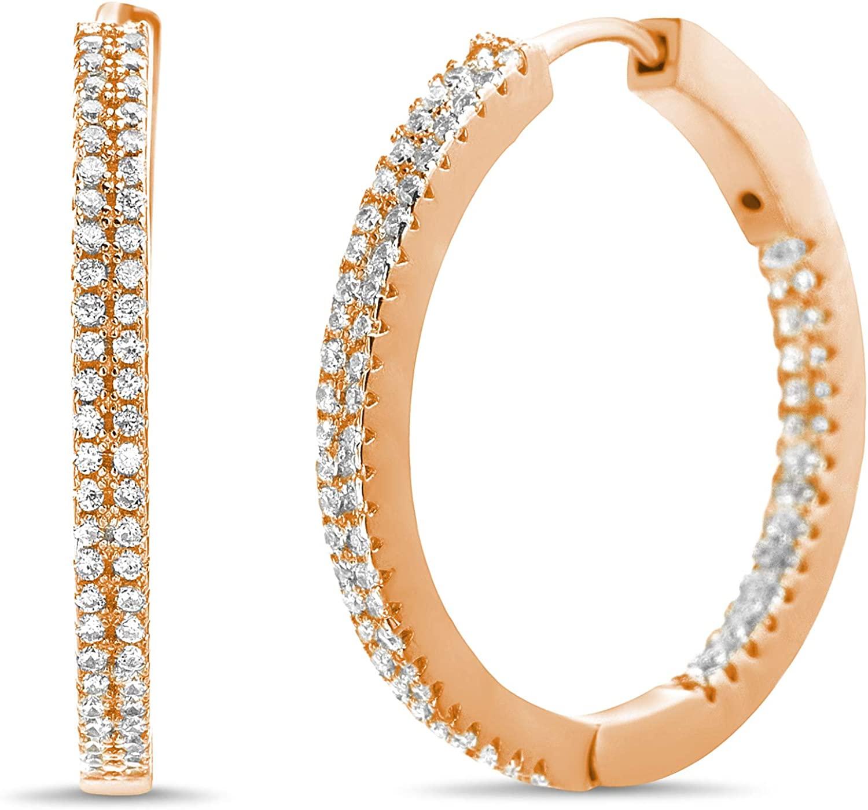 MIA SARINE Sterling Silver Cubic Zirconia Thin Inside Outside Hoop Earrings for Women