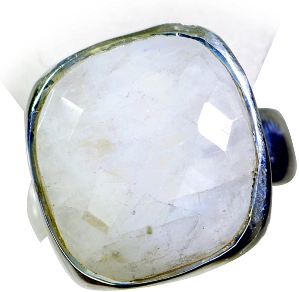 Gemsonclick Natural Rainbow Moonstone Silver Ring for Gift Women Cushion Shape Checker Cut Size 4,5,6,7,8,9,10,11,12