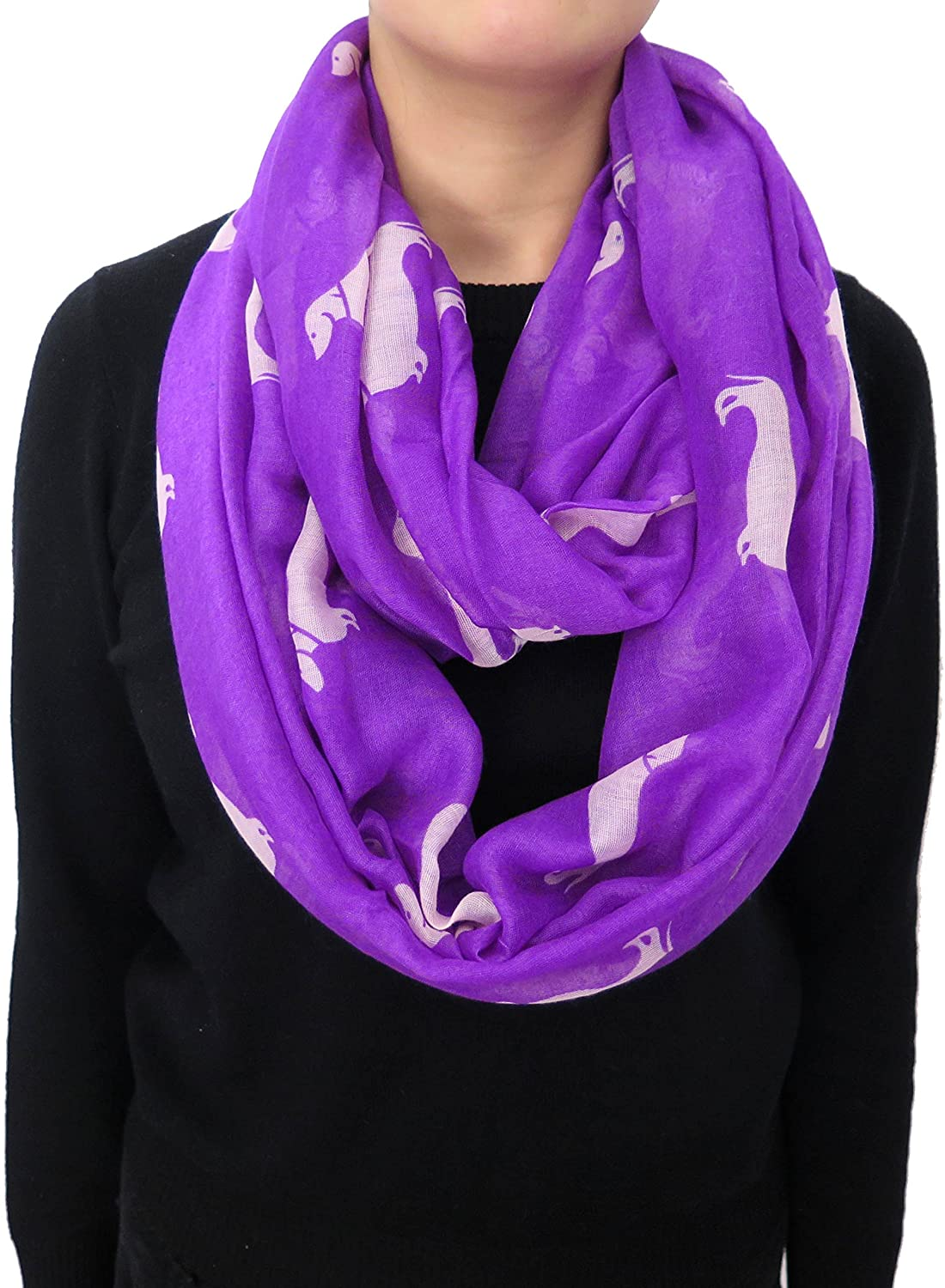 Lina & Lily Dachshund Dog Print Infinity Loop Scarf for Women Lightweight