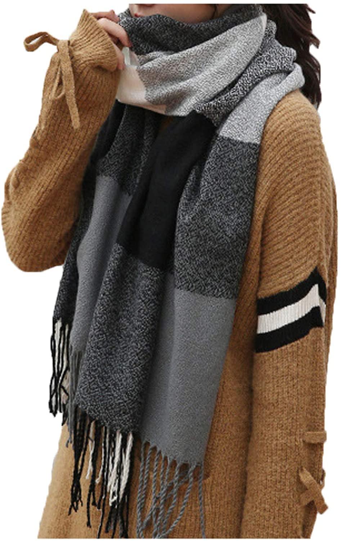 seven wolves Women Fashion Plaid Scarf Tassel Shawl Ladies Wool Knitted Scarf