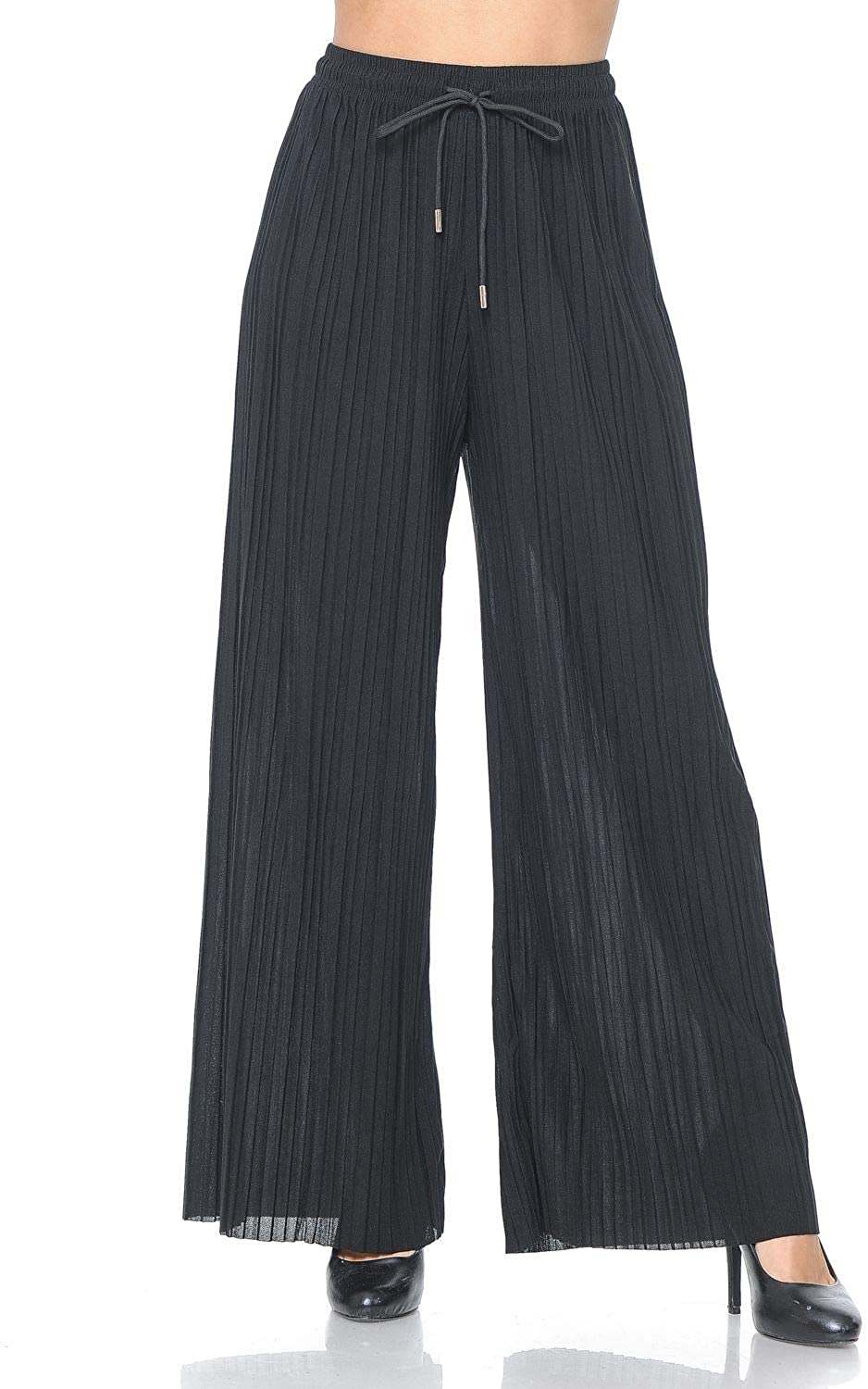 Auliné Collection Womens Solid Waistband Long Pleated Chiffon Palazzo Pants