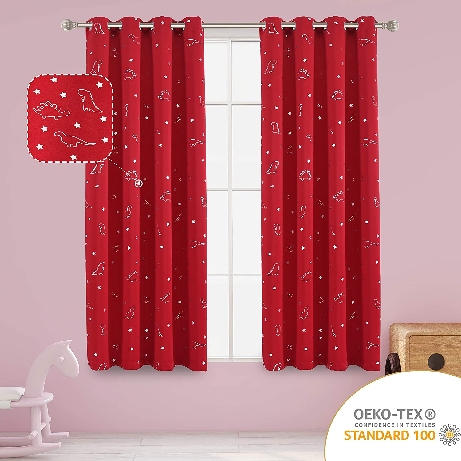 LORDTEX Dinosaur and Star Foil Print Blackout Curtains for Kids Room - Thermal Insulated Curtains Noise Reducing Window Drapes for Boys and Girls Bedroom, 52 x 63 Inch, Red, Set of 2 Panels