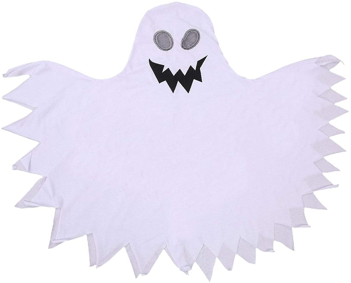 XRjxyushan Halloween Costume for Toddler Kid Boys Funny Ghost Pattern Hooded Cover Long Cloak Cape Scary Cosplay Clothes