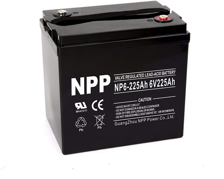 NPP NP6-225Ah 6V 225Ah AGM Deep Cycle Rechargeable SLA Battery (1 Pack)