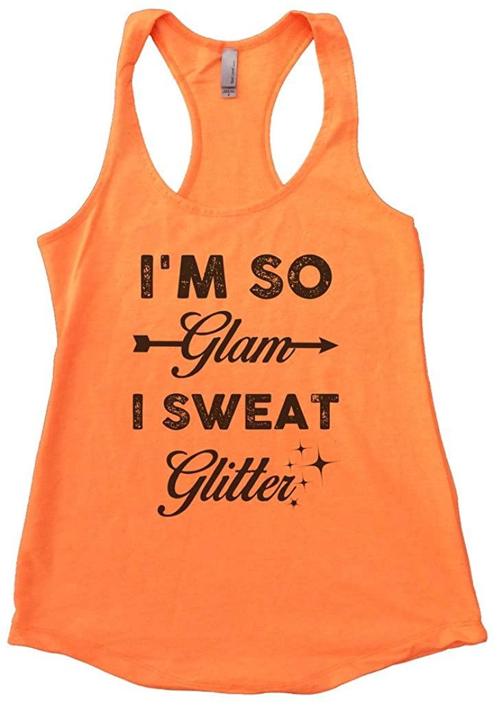 Womens Flowy Im So Glam I Sweat Glitter Diva Gym Tank Top Funny Threadz
