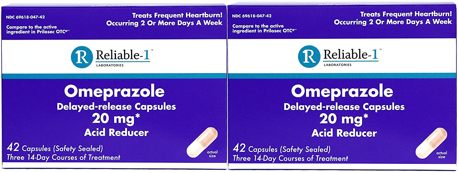 Reliable-1 Laboratories Omeprazole Delayed-Release Capsules 20Mg Acid Reducer 42 Count
