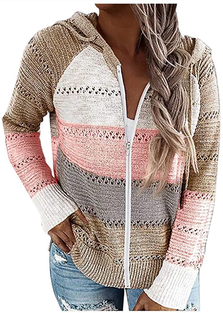 ANOKA Womens Zip Up Hoodies Open Front Cardigan Long Sleeve Soft Chunky Knit Sweater