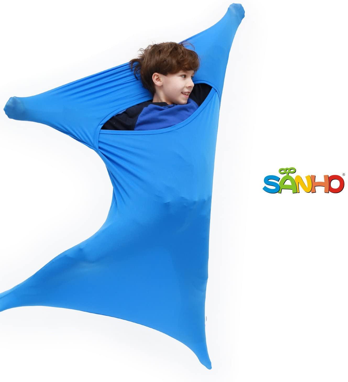 SANHO Premium Sensory Sock Budy Sock, Perfect for Children with Sensory Processing Disorder, Updated Version (Blue, Medium)