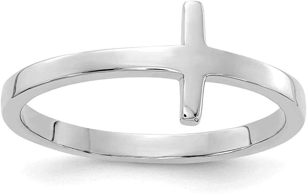 14k White Gold Sideways Cross Religious Band Ring Size 7.00 Fine Jewelry For Women Gifts For Her