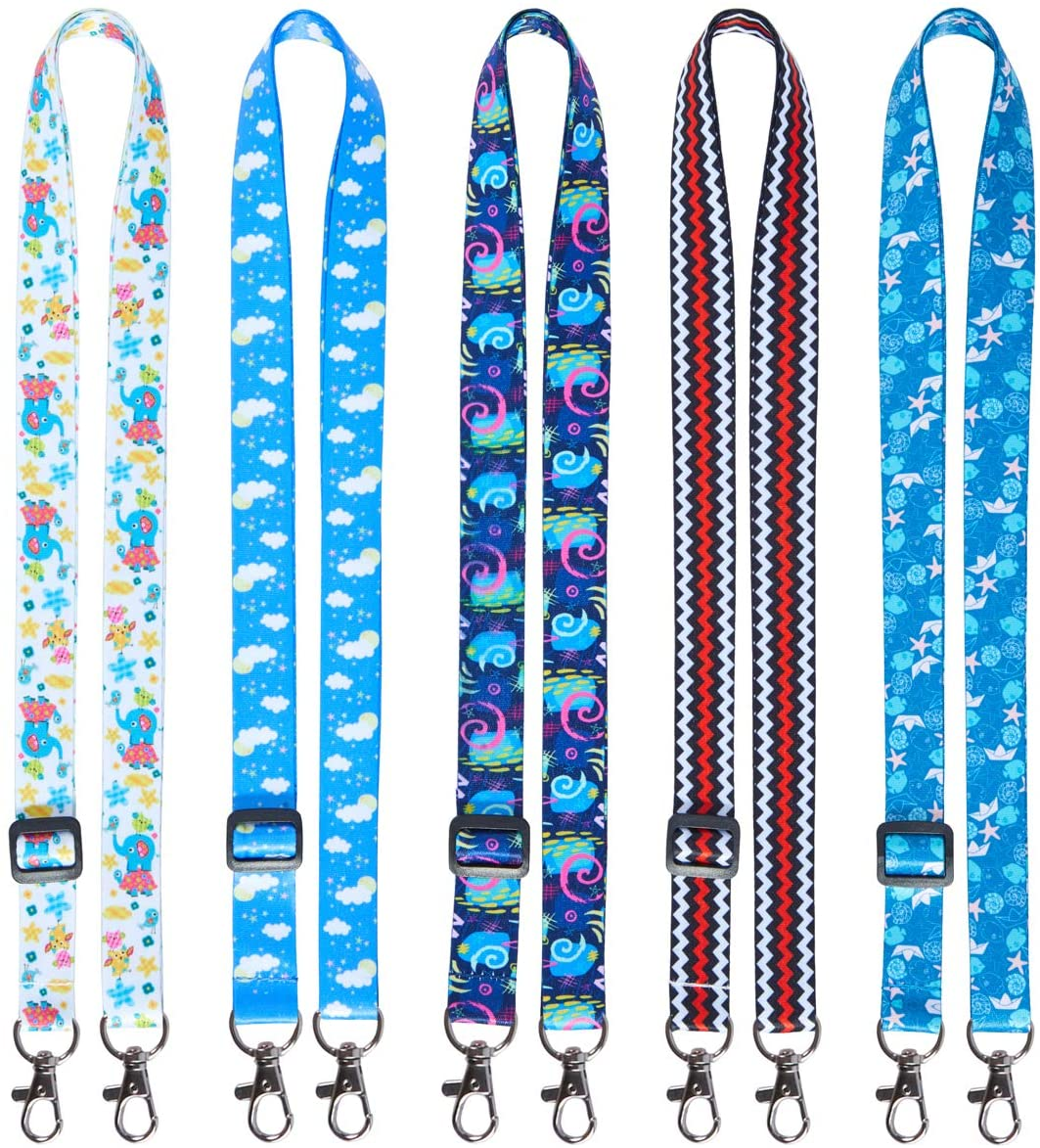 YOUOWO Lanyards Adjustable 5 Pack Cute Lanyard for Kids face mask id Badges Holder Lanyard Cartoon Double Hook lanyards for ID Card Keys Adult Keychains Neck Office Lanyard