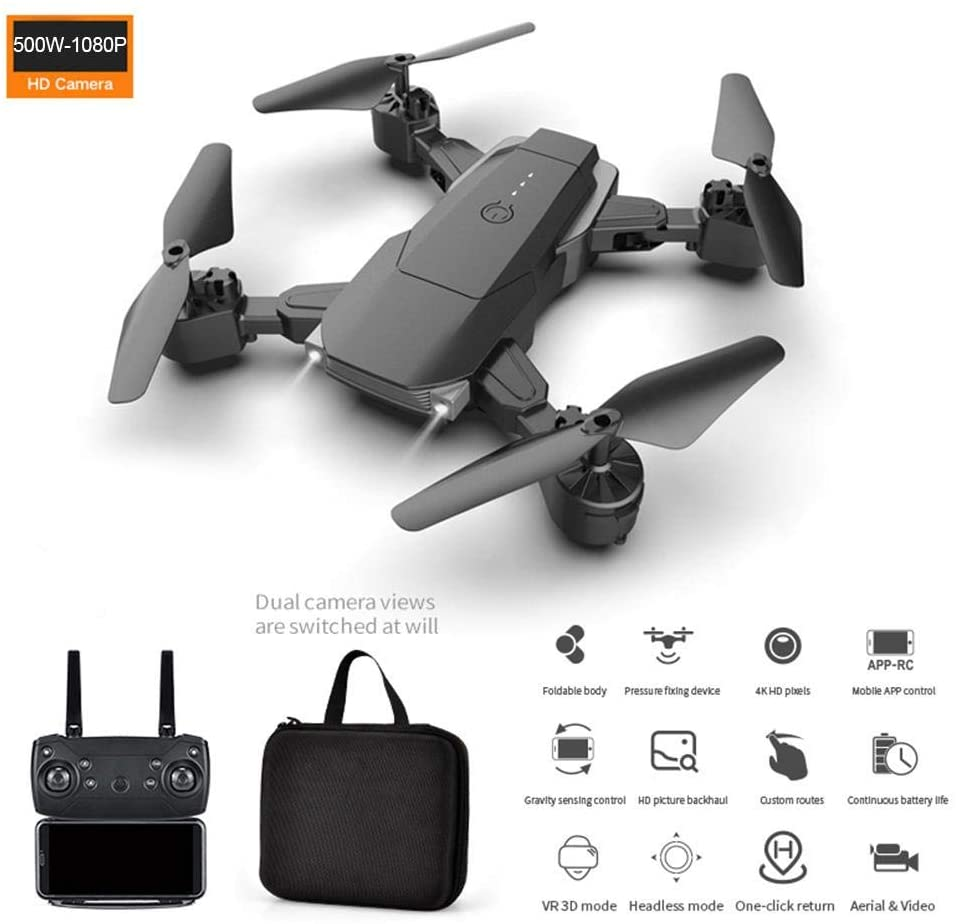 Drone with Camera High-Definition, Foldable FPV Remote Control Quadcopter, Headless Mode, One Key Operation, Follow Me Mode, Altitude Hold, for Children Beginners Boys | Black |