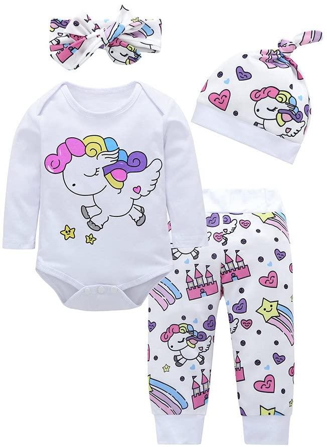 Fineday Girls Outfits&Set, 4pcs Baby Girls Boys Clothes Set Cartoon Romper+Pants+Hat+Headband Outfits, Clothes for Boys and Girls