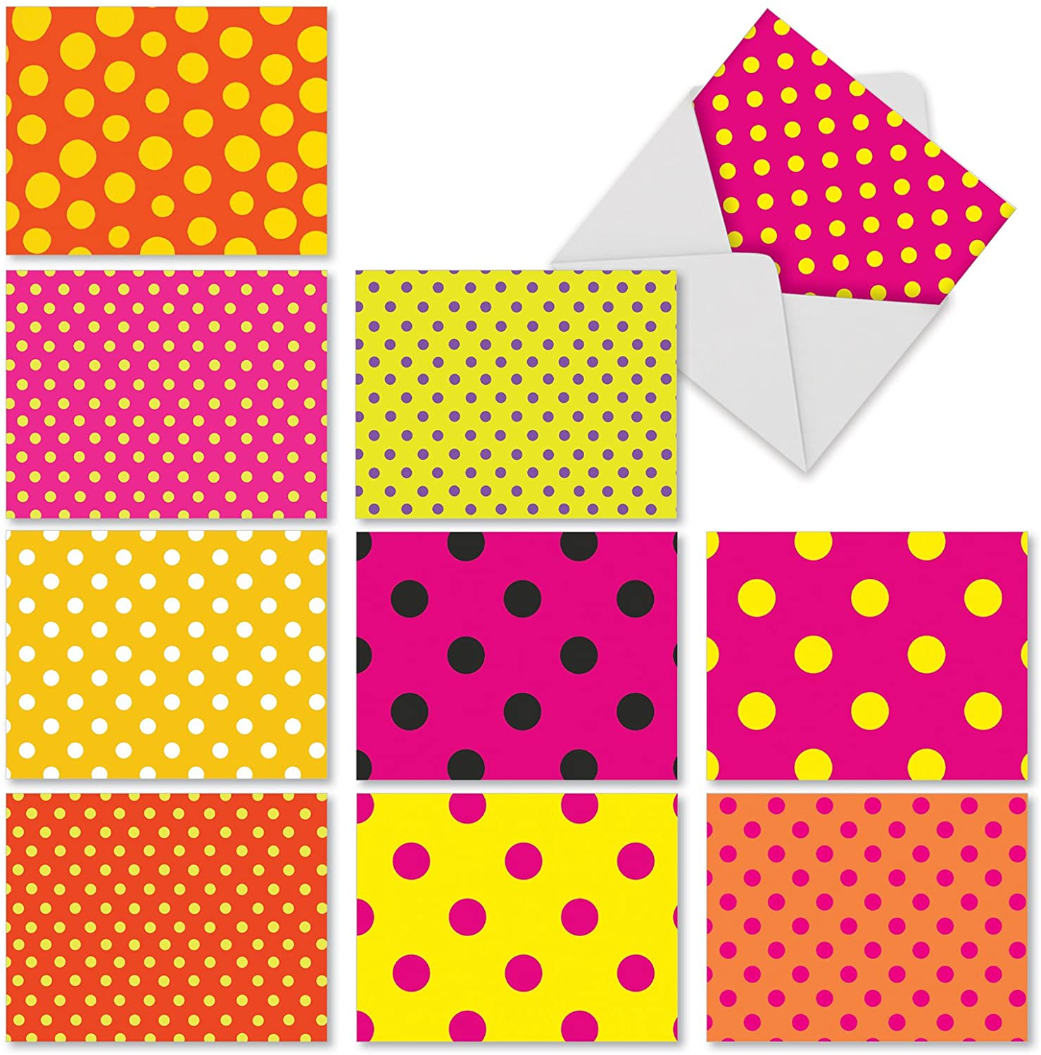 The Best Card Company - Box of 10 All Occasion Note Cards (4 x 5.12 Inch) - Blank Assorted Bulk Set - Hot Dots M3066