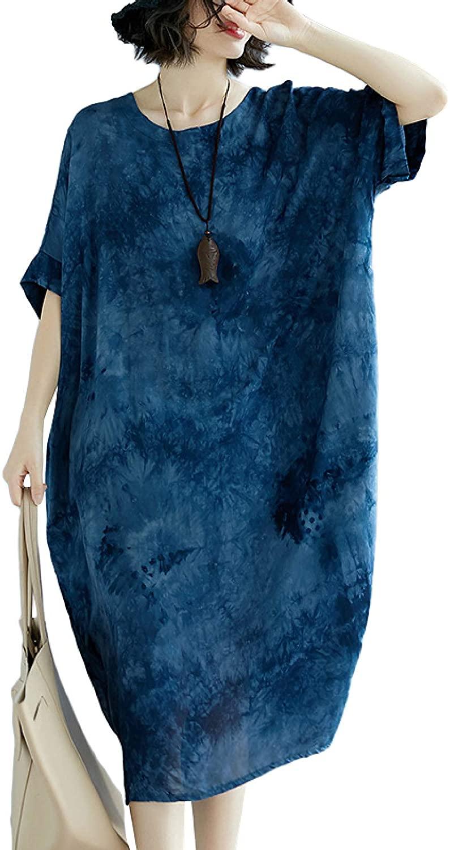 GGUHHU Womans Loose-Fit Tie-Dye Batwing Sleeve Cotton Roomy Dress with Pocket