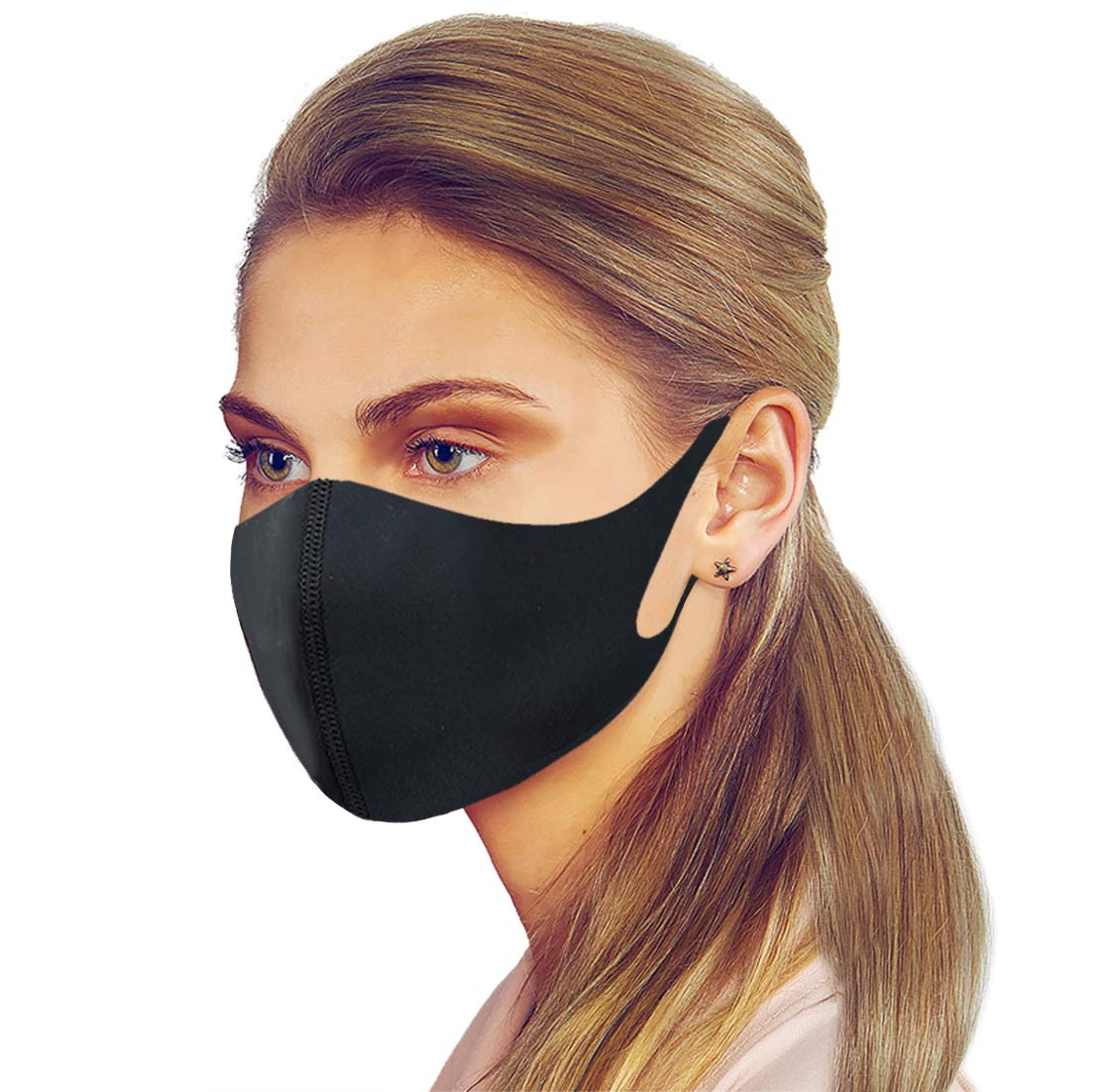 Premium Unisex Adults/Kids Dry Fit Face Protective Covering Gear Washable Reusable Double Fabric Layers (Black 1 Pack)