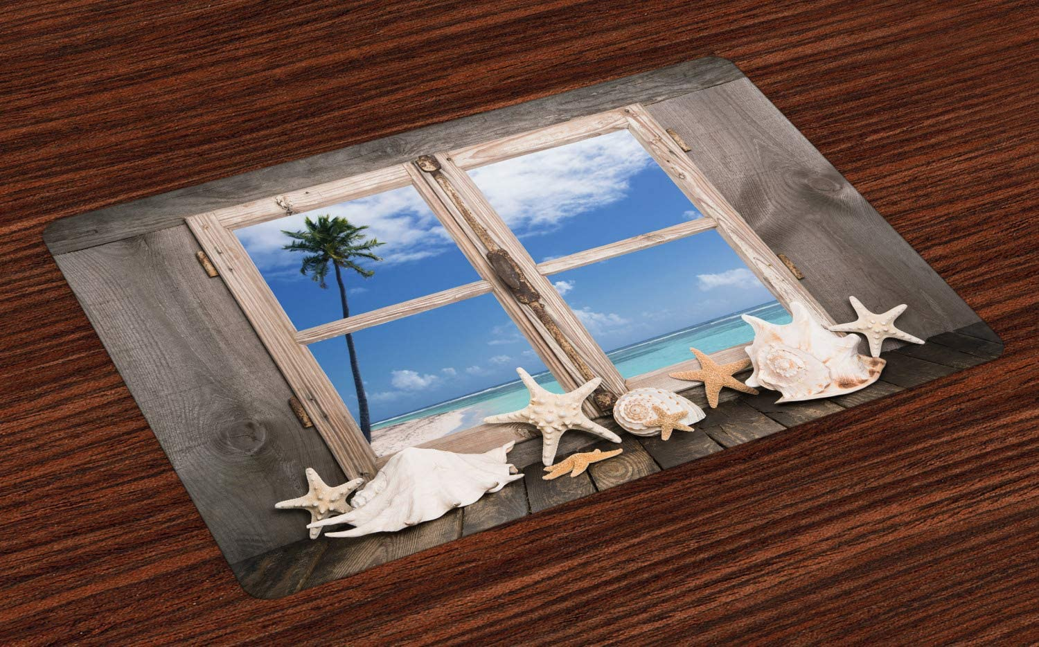 Ambesonne Beach Place Mats Set of 4, Summer Holiday wih Seashells Starfish and Palm Tree Ocean Print, Washable Fabric Placemats for Dining Room Kitchen Table Decor, Brown Blue
