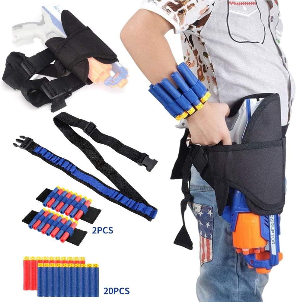 Holster Belt Kit for Nerf N-Strike Elite Series - Accessories Includes Holster Waist Bag, Bandolier Sling Strap, 2 Pcs Wrist Ammo Holder, & 20 Refill Darts