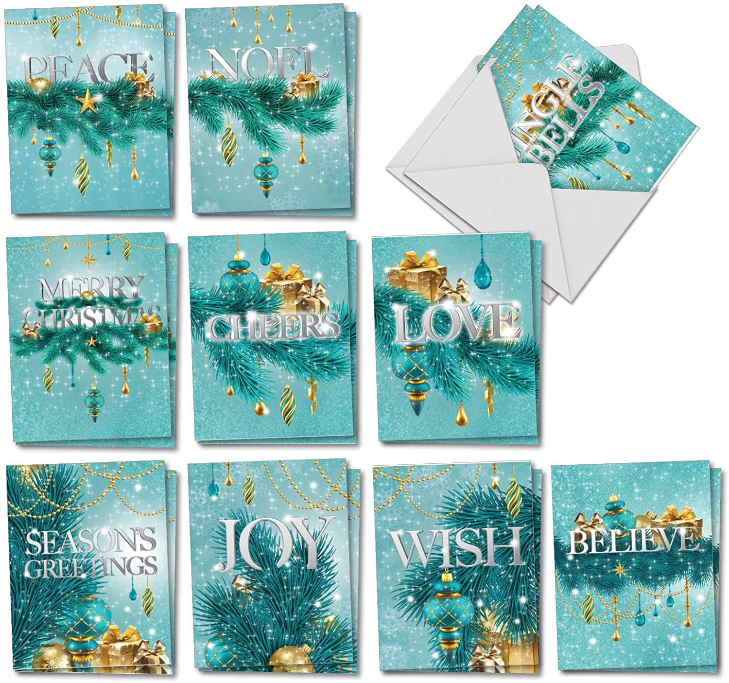 The Best Card Company Season's Sparkles - 20 Assorted Boxed Christmas Thank You Note Cards with Envelopes (4 x 5.12 Inch) - Showing Shining Decorations in Thanks for the Season AM2945XTG-B2x10