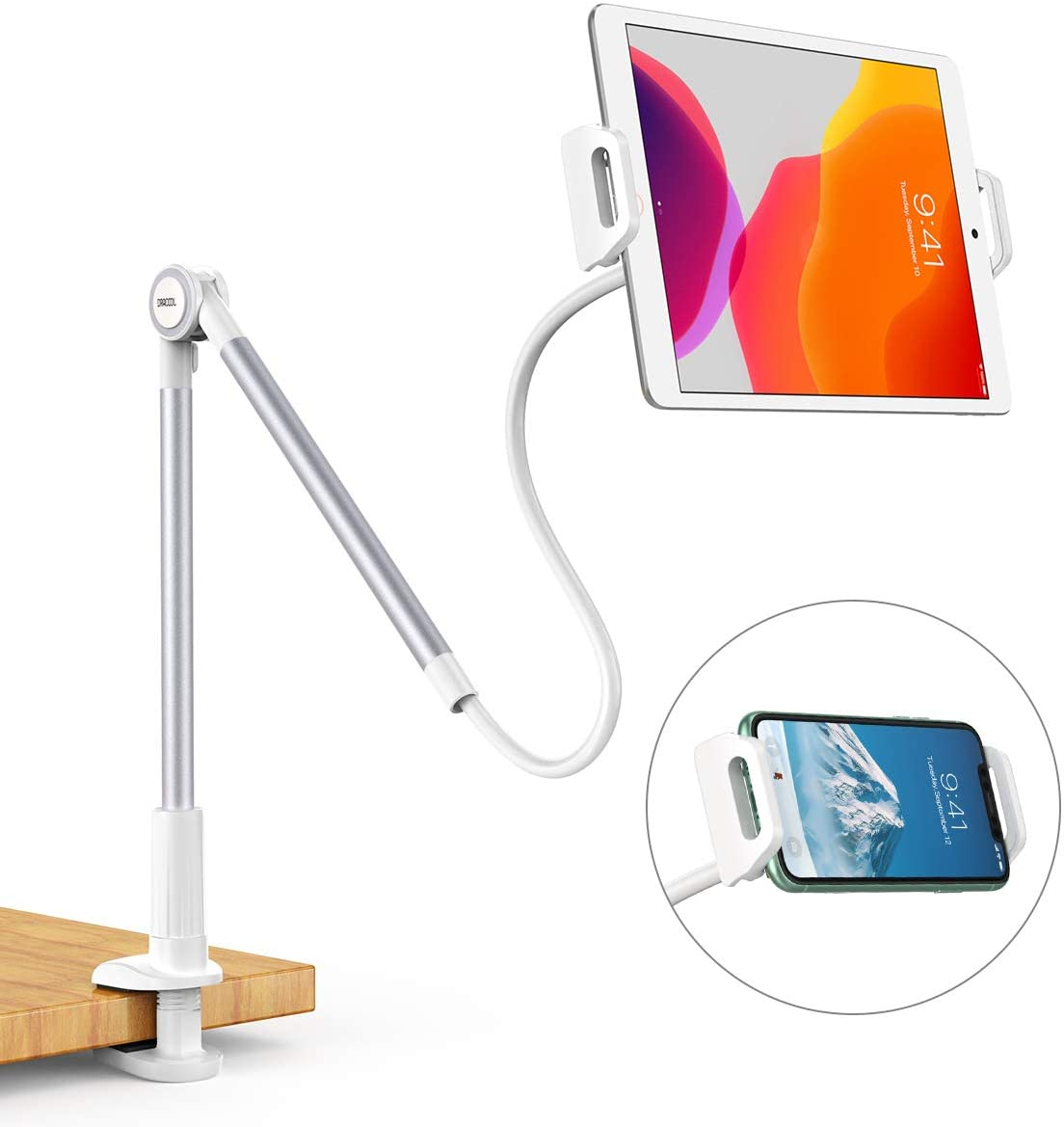 Dracool for Tablet Holder Gooseneck iPad Phone Stand Mount Lazy Holder Arm Clip 360 Adjustable Flexible for Desk Bed for iPad Mini Pro Air, iPhone, Samsung Galaxy Tabs More 4.7-10.5