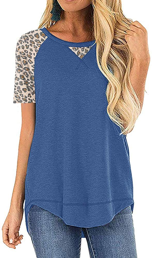 Summer Tops for Women Short Sleeve Color Block Casual Leopard Tunic T Shirt Top