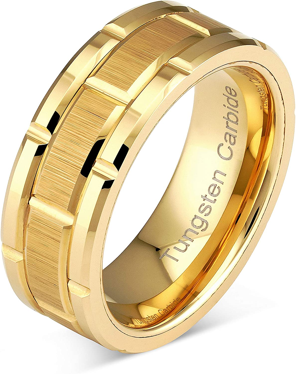 Engraved Personalized Tungsten Ring For Men Women Wedding Band Gold Brick Pattern Size 6-16