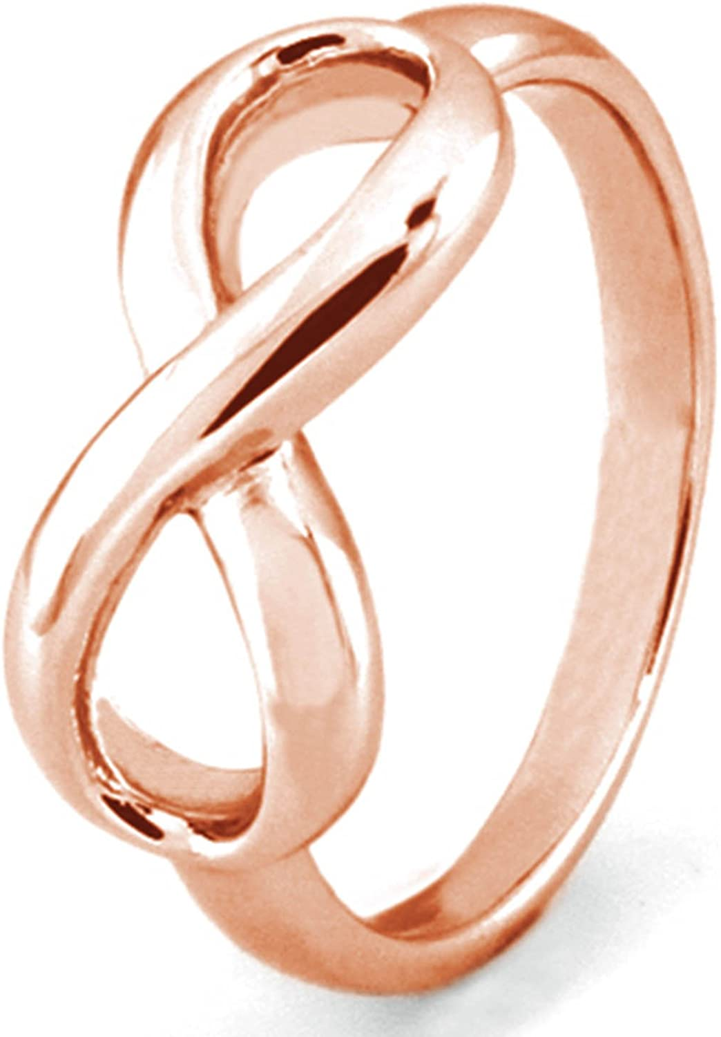 Rose Gold Plated Sterling Silver Infinity Symbol Wedding Band Ring