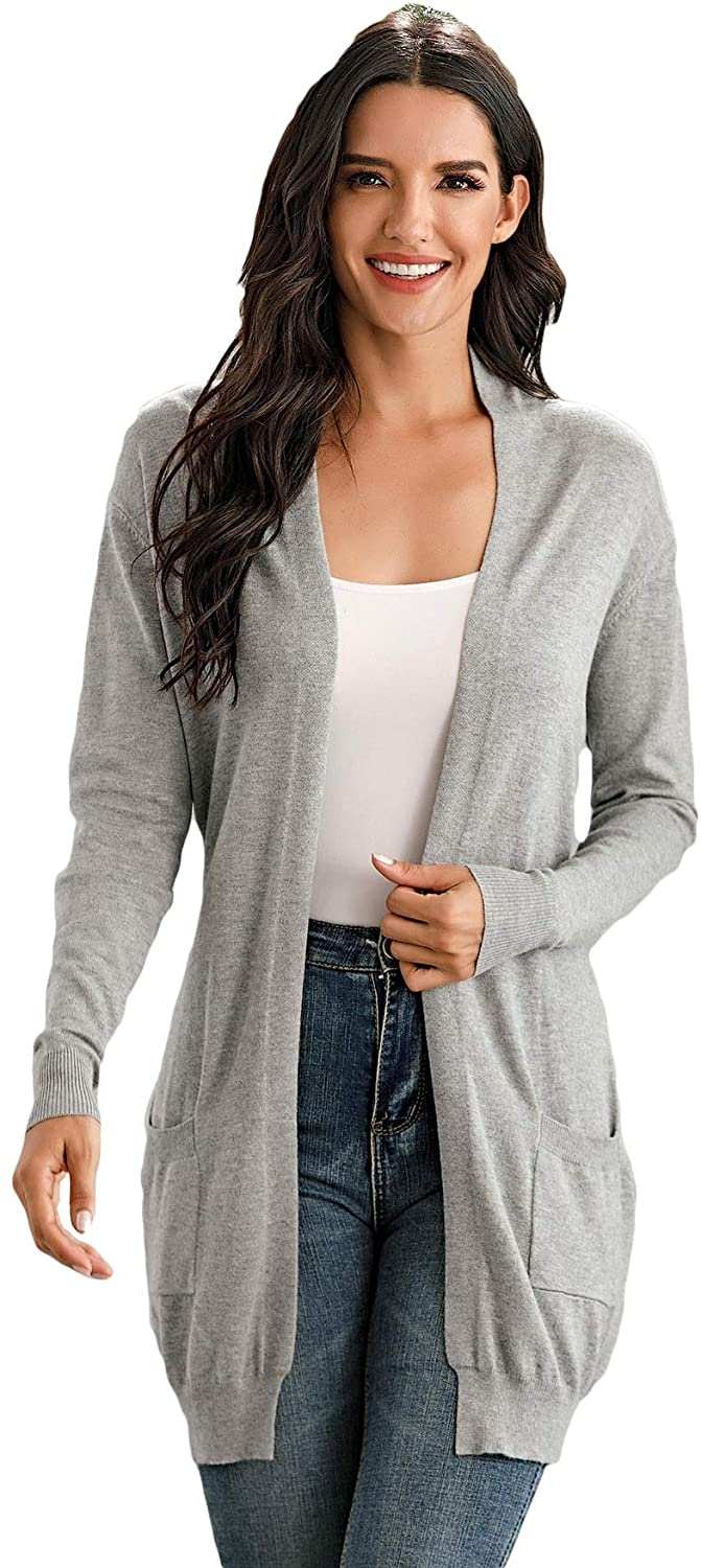 Fashring Women's Long Sleeve Open Front Casual Pocket Long Slim Cardigan