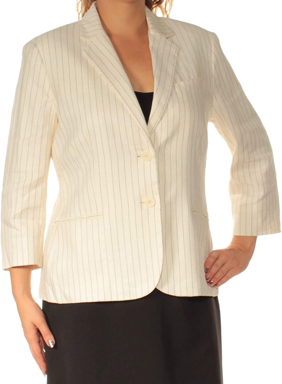 Ralph Lauren Womens Pinstripe Two Button Blazer Jacket