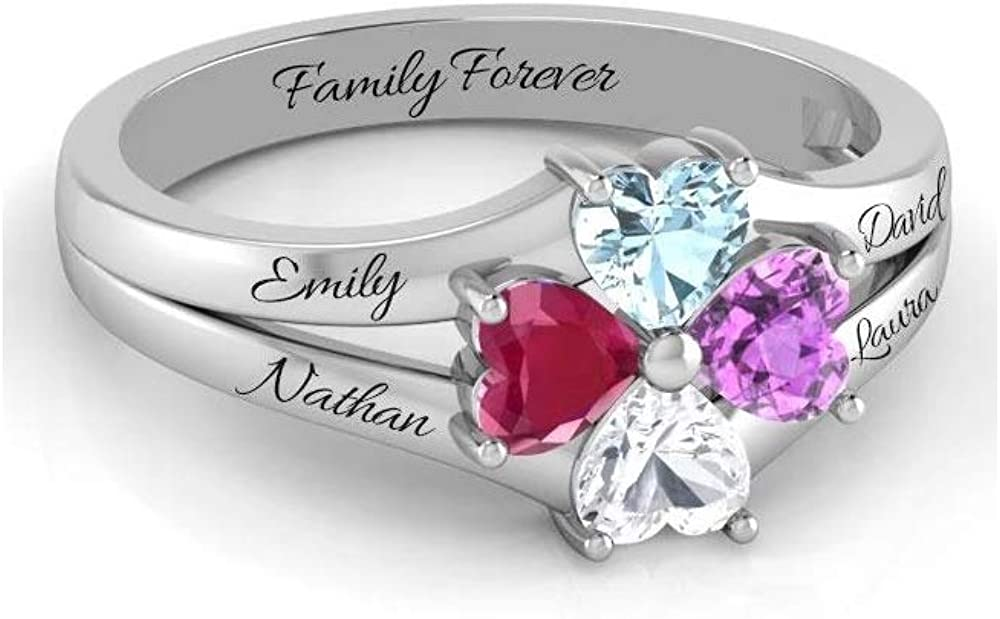 Wendy Made Personalized Mothers Rings with 4-6 Names and Simulated Birthstones Custom Family Name Ring for Women for Mom Grandmother