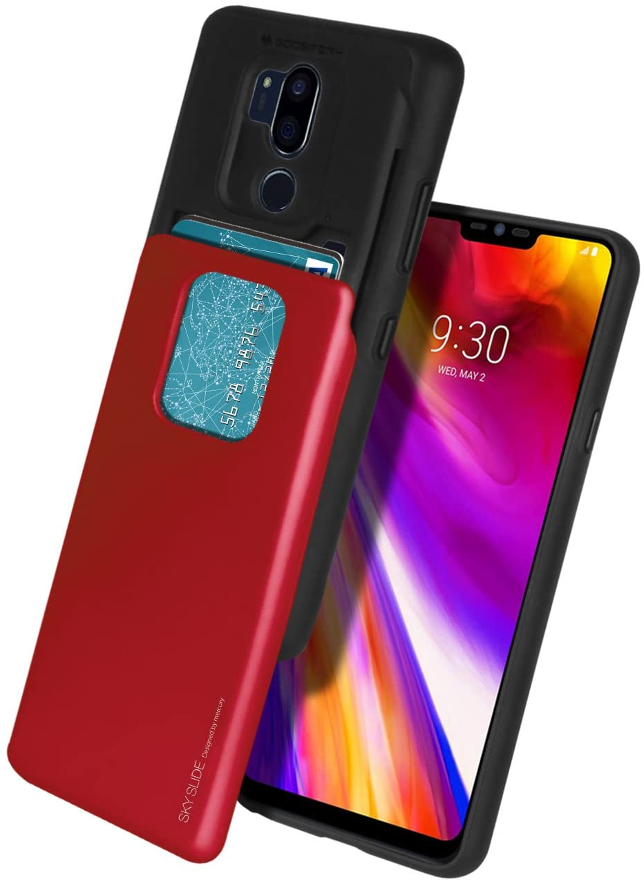 LG G7 ThinQ Case, LG G7 Case, Mercury [Sliding Card Holder] Protective Dual Layer Bumper [TPU+PC] Cover with Card Slot Wallet for LG G7 ThinQ (Red) LGG7-SKY-RED