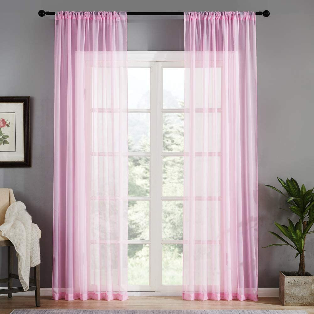 MRTREES Pink Sheer Curtains Girls' Room 63 inches Long Voile Curtain Sheers Kids Room Curtain Panels Nursery Bedroom Light Filtering Drapes Rod Pocket Window Treatment Set 2 Panels