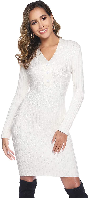 Abollria Women Long Sleeve Knit V-Neck Stretchable Elasticity Sweater Dress