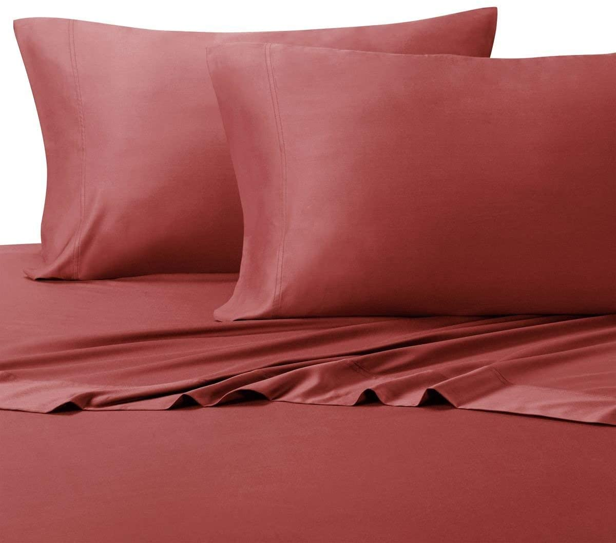 Royal Hotel Silky Soft Bamboo Cotton Sheet Set, 100% Bamboo-Cotton Bed Sheets, King Size, Coral