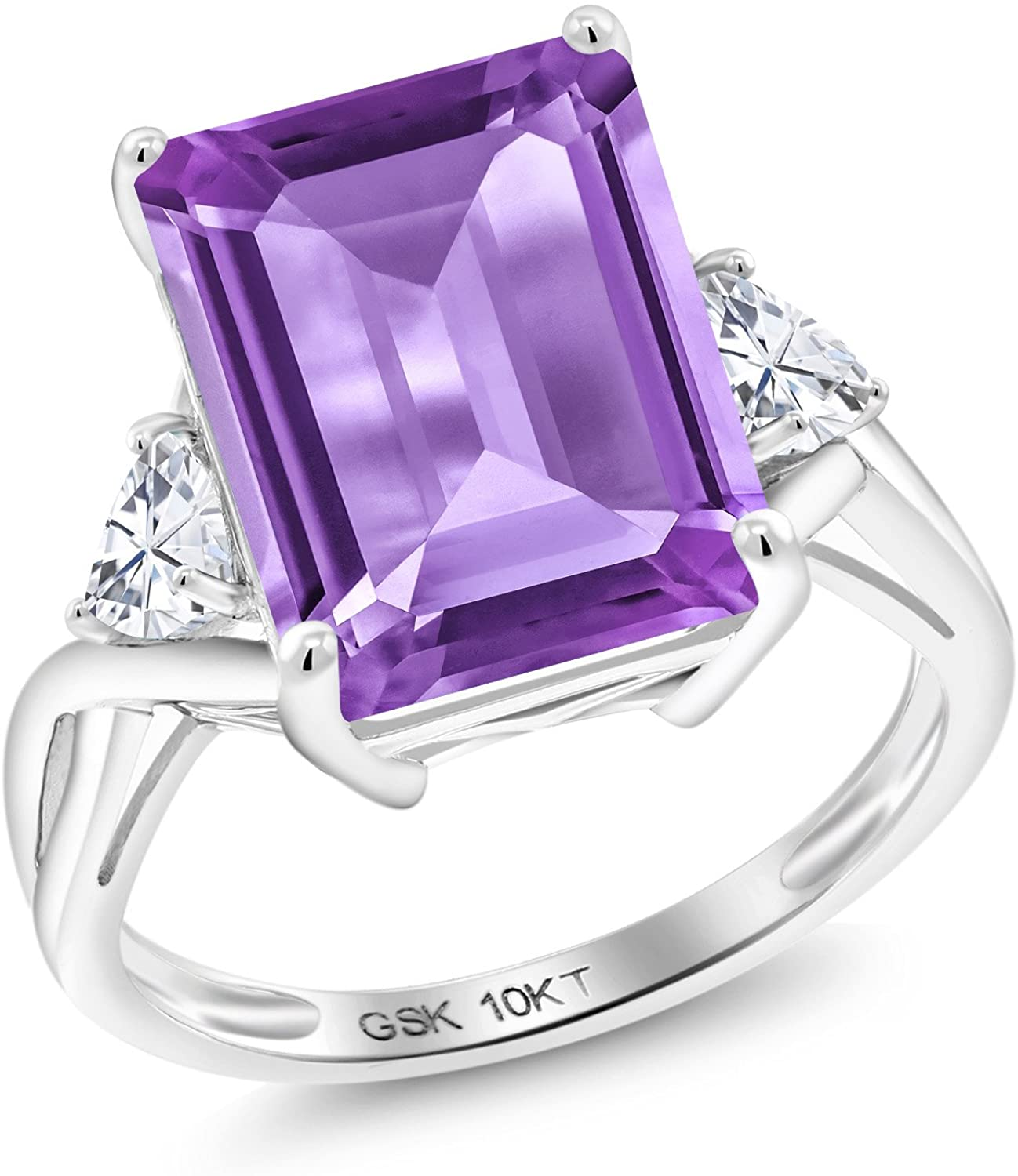 Gem Stone King 10K White Gold Purple Amethyst and Timeless Brilliant Created Moissanite Engagement Ring (6.71 Cttw, Emerald Cut 14X10MM)