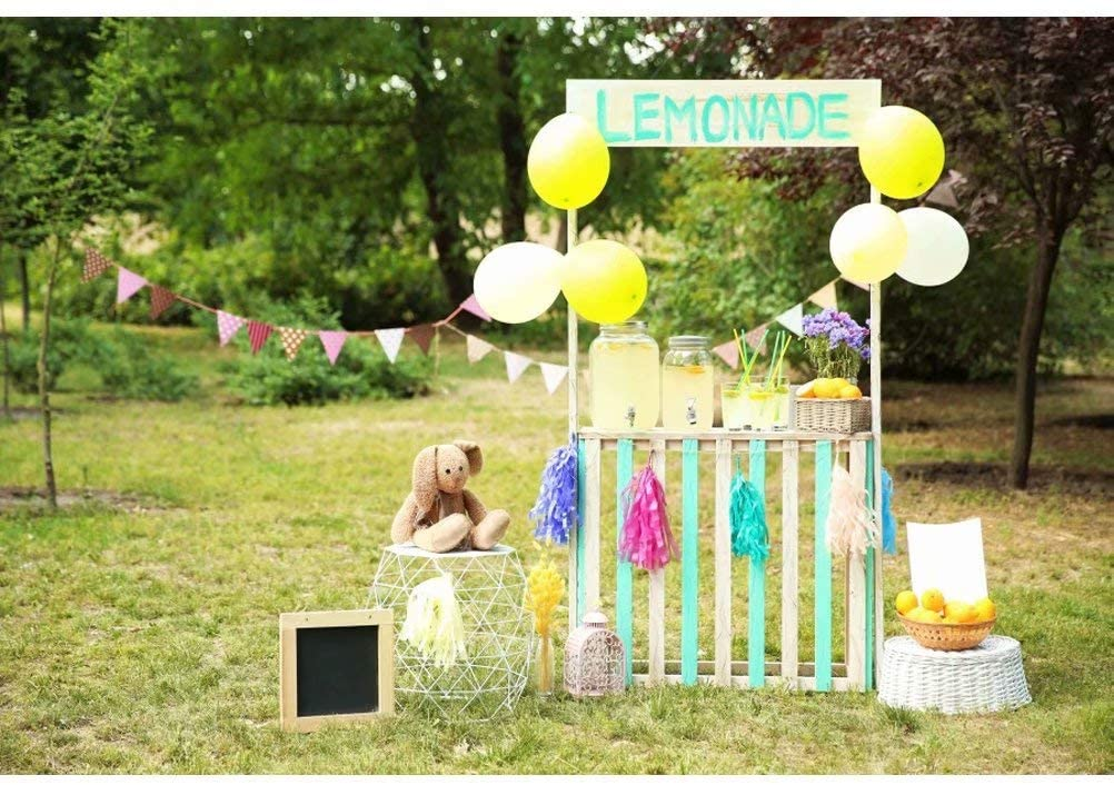 OFILA Lemonade Stand Backdrop 6.5x5ft Polyester Fabric Kids Outside Party Decoration Children Birthday Events Photos Background Park Scenery Preschool Activity Video Studio Props
