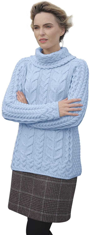 Supersoft Merino Cowl Neck Knit Aran Sweater
