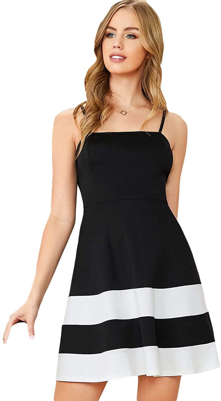 Floerns Women's Summer Colorblock Spaghetti Strap Cami Flared Dress