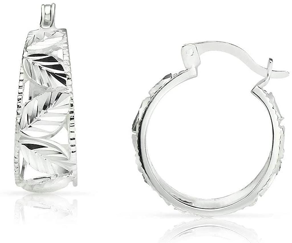 SolidSilver - Sterling Silver Hoop Earrings with a Sparkling Diamond Cut Leaf Design