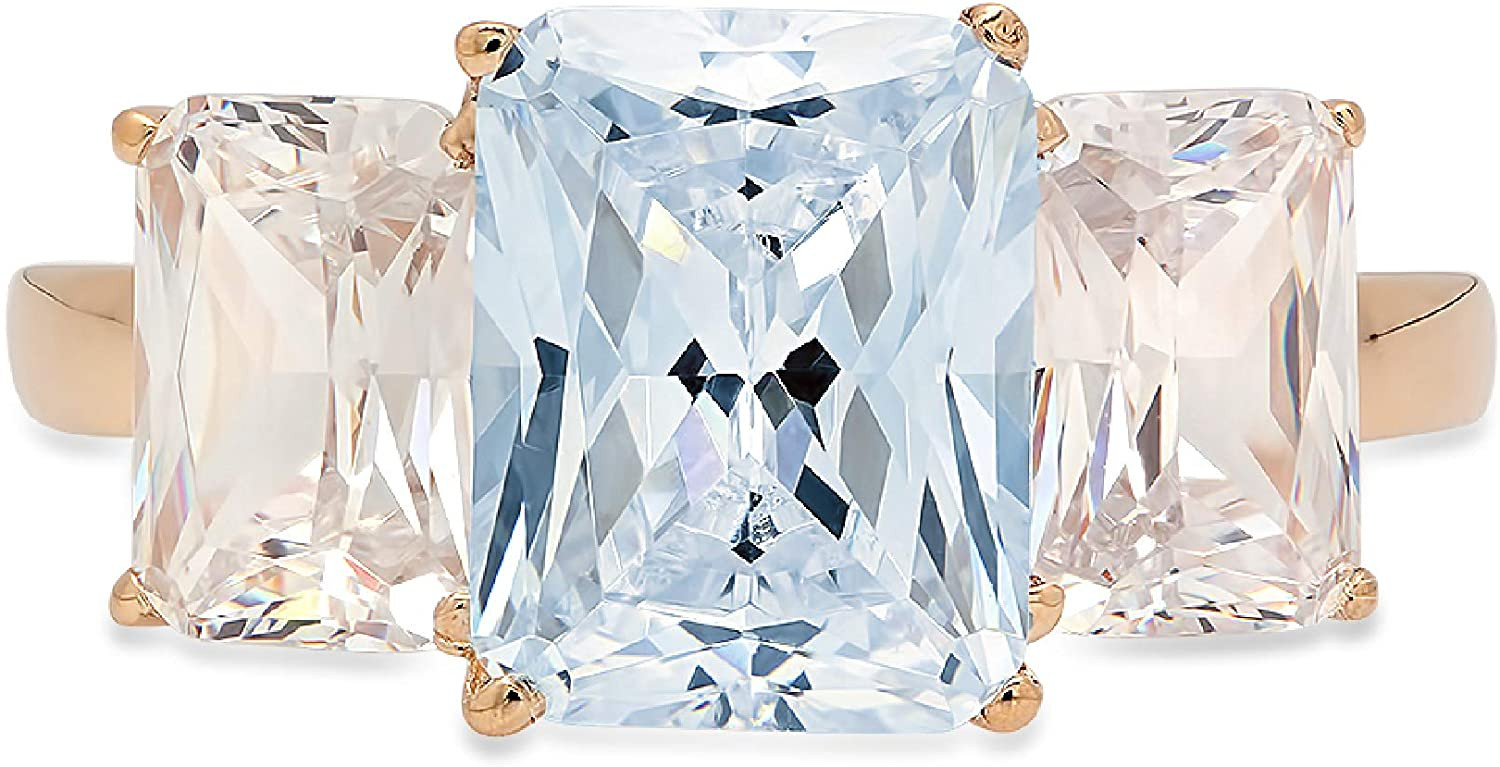 3.94ct Brilliant Emerald Cut 3 Stone Solitaire with Accent Natural Sky Blue Topaz Gem Stone Ideal Engagement Promise Statement Anniversary Bridal Wedding ring 14k yellow Gold