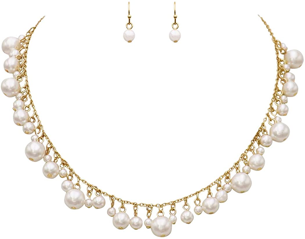 Rosemarie Collections Womens White Simulated Pearl Fringe Necklace and Earrings Bridal Set