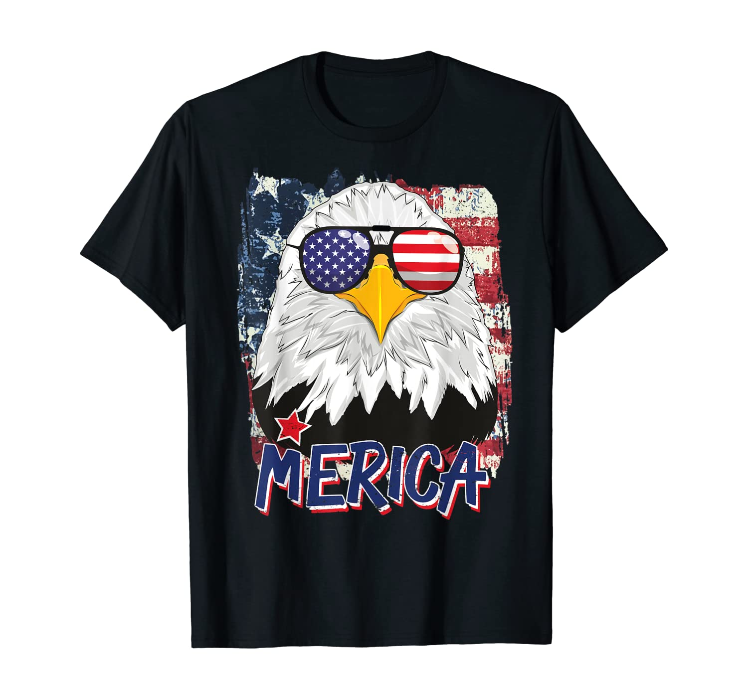 American Flag Bald Eagle Merica 4th Of July USA Sunglasses T-Shirt