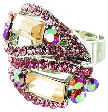 Body Bling Pink on Silver Plated Double Baguette Cocktail Ring
