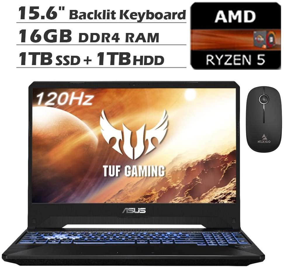 2020 ASUS TUF 15.6 Inch 120Hz FHD 1080P Gaming Laptop, AMD Ryzen 5 3550H up to 3.7GHz, GeForce RTX 2060 6GB, 16GB RAM, 1TB SSD (Boot) + 1TB HDD, Backlit KB, Win10 + NexiGo Wireless Mouse Bundle