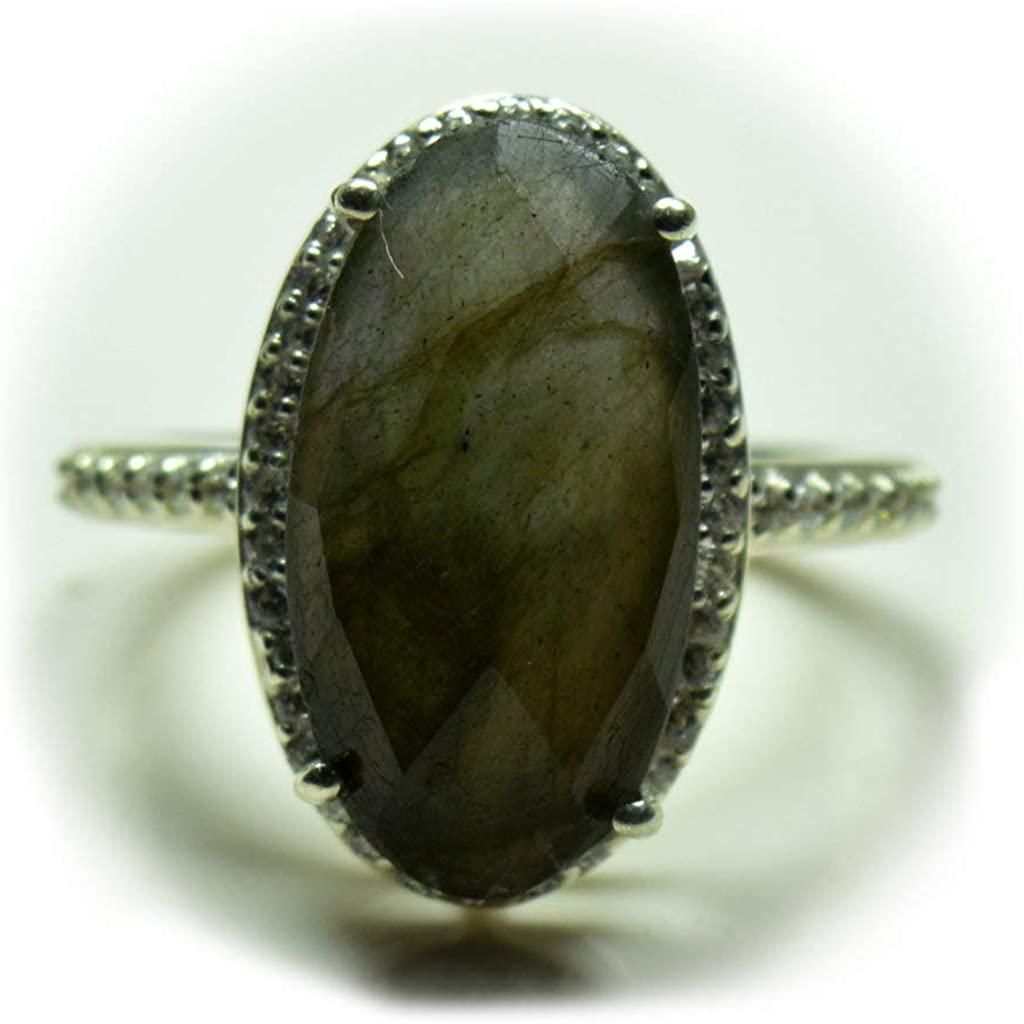 55Carat Genuine Labradorite Women Rings Halo Setting Oval Shape 925 Sterling Silver Jewelry in Size 4-13